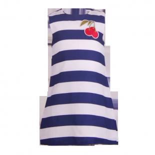 . Полосатое платье для девочки с нашивкой