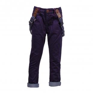Темно-синие штаны с подворотами и подтяжками