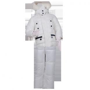 . Пуховой зимний костюм белого цвета