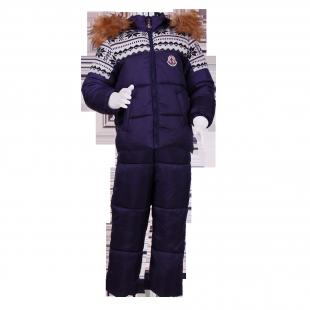 . Зимний костюм с красивой вязаной вставкой