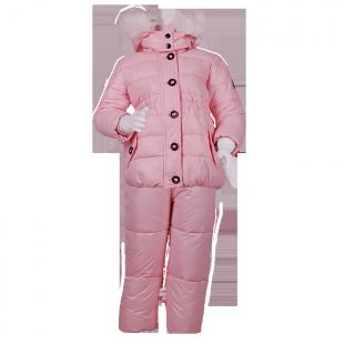Нежно-розовый тёплый костюм на зиму