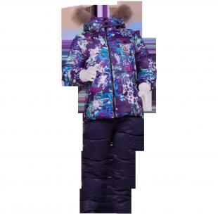 Зимний пуховой костюм с фиолетовой курткой