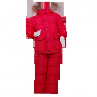 Очень теплый костюм Moncler красного цвета