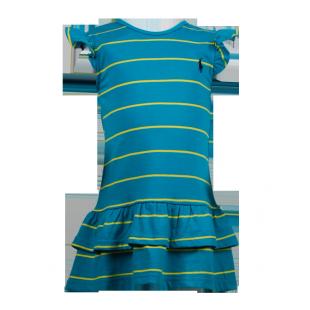 Платье-туника с оборками бирюзового цвета