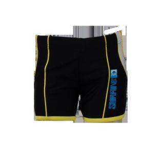 . Чёрные плавки с жёлтой окантовкой