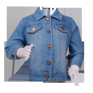 Пиджак джинсовый с золотистыми пуговицами
