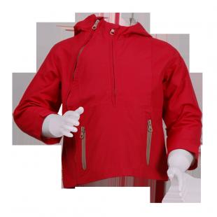 Красная куртка с косой молнией