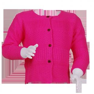 . Вязаная кофточка для девочки розового цвета