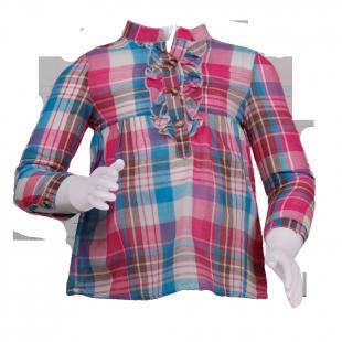 Блуза в клетку с рюшами  на груди