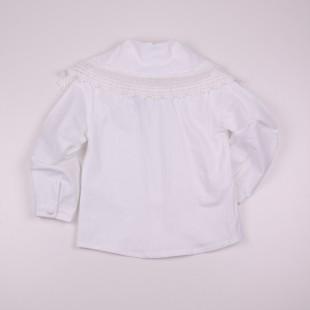 Фото: Блузочка с откидным воротником и кружевом (артикул Z 30084-white) - изображение 4