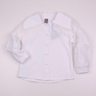 Фото: Блузочка с откидным воротником и кружевом (артикул Z 30084-white) - изображение 3