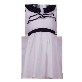 Платье с темно-синим воротником и поясом