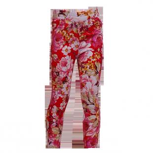 . Джинсы красные с цветочным принтом