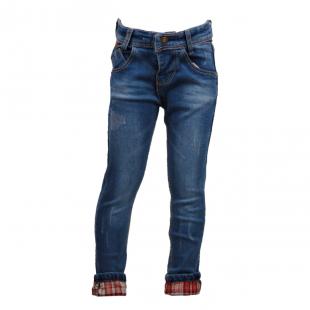 Стильные джинсы с клетчатыми подворотами