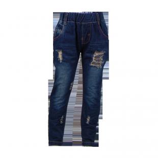 Тёмные джинсы с рваными вставками